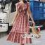 เสื้อผ้าแฟชั่นเกาหลี Lady Ribbon Thailand Seoul Secret Say'...Bias Cape Red&White Gingham Kilt Plaid Open Back thumbnail 3