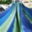 เปลญวนนอนผ้าสลับสีขอบไม้สีขาวอ่อน (ห่วงแขวนแข็งแรง) thumbnail 7