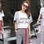 เสื้อผ้าแฟชั่นเกาหลี Seoul Secret Say's...Lace Gray Printed Stripes Shirt Set thumbnail 2