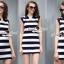 Seoul Secret Say's... Stripy chic chilly dress thumbnail 1