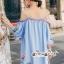เสื้อผ้าแฟชั่นเกาหลี Lady Ribbon Thailand Seoul Secret Say'...Shoulder Blue Dress Embroidery Lace Bohemia thumbnail 3