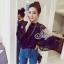 เสื้อผ้าแฟชั่นเกาหลี Sevy Wide Long Sleeve See-through Leave Lace Blouse thumbnail 1