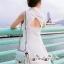 เสื้อผ้าแฟชั่นเกาหลี Lady Ribbon Thailand Seoul Secret Say's...Sleeveless Dress White Behind The Triangle thumbnail 3