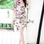 เสื้อผ้าแฟชั่นเกาหลี Lady Ribbon Thailand Seoul Secret Say'...Crepe Dress Pink Rose Print Vintage Style thumbnail 1