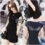 เสื้อผ้าแฟชั่นเกาหลี Sevy Two Pieces Of Wing Pin Back Khit Long Blouse With Shorts Sets thumbnail 2