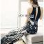 เสื้อผ้าแฟชั่นเกาหลี Lady Ribbon Thailand Lady Ribbon's Made Lady Emilia See-Through Printed Black Jumpsuit thumbnail 3