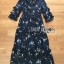 เสื้อผ้าแฟชั่นเกาหลี Lady Ribbon's Made Lady Danielle Flower Printed Navy Blue Chiffon Ruffle Maxi Dress thumbnail 8