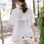 เสื้อผ้าแฟชั่นเกาหลี Lady Ribbon Thailand Seoul Secret Say'...Lace Embroidered Cotton Blouse White Circle Korea Style thumbnail 3