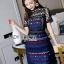 เสื้อผ้าแฟชั่นเกาหลี Lady Ribbon's Made Lady Poppy Vivid Blue and Burgundy Lace Dress thumbnail 1