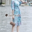 Seoul Secret Say's... Stripe Pattern Waist Ivory Floral Print Shirt Dress thumbnail 4