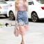 Seoul Secret Say's... Pinky Pleat Net Frienge Denim Skirt Lace Tops Set thumbnail 1