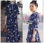 เสื้อผ้าแฟชั่นเกาหลี Lady Ribbon's Made Lady Danielle Flower Printed Navy Blue Chiffon Ruffle Maxi Dress thumbnail 5