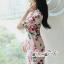 เสื้อผ้าแฟชั่นเกาหลี Lady Ribbon Thailand Seoul Secret Say'...Crepe Dress Pink Rose Print Vintage Style thumbnail 3