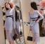 เสื้อผ้าแฟชั่นเกาหลี Lady Ribbon Thailand Lady Ribbon's Made Lady Vanessa Soft Elegant Pastel Blue Lace Midi Dress thumbnail 2