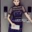 เสื้อผ้าแฟชั่นเกาหลี Lady Ribbon's Made Lady Poppy Vivid Blue and Burgundy Lace Dress thumbnail 5
