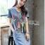 เสื้อผ้าแฟชั่นเกาหลี Lady Ribbon Thailand's Made Lady Glam Gloria Fun Printed Denim Dress thumbnail 1