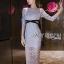 เสื้อผ้าแฟชั่นเกาหลี Lady Ribbon Thailand Lady Ribbon's Made Lady Vanessa Soft Elegant Pastel Blue Lace Midi Dress thumbnail 1