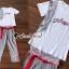 เสื้อผ้าแฟชั่นเกาหลี Seoul Secret Say's...Lace Gray Printed Stripes Shirt Set thumbnail 3