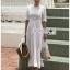 เสื้อผ้าแฟชั่นเกาหลี Lady Ribbon Thailand Lady Clemence Ruffle Embroidered White Cotton Dress thumbnail 2