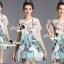 Seoul Secret Say's... Peafowl Saphire Tonely Printed Dress thumbnail 1