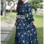 เสื้อผ้าแฟชั่นเกาหลี Lady Ribbon's Made Lady Danielle Flower Printed Navy Blue Chiffon Ruffle Maxi Dress thumbnail 3