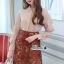 เสื้อผ้าแฟชั่นเกาหลี Lady Ribbon Thailand Korea Design By Lavida Creamy shirt collar lace skirt set code8193 thumbnail 2