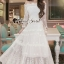 Seoul Secret Say's... Princess Curly Shoulder Off White Dress thumbnail 1