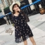 เสื้อผ้าแฟชั่นเกาหลี Lady Ribbon Thailand Normal Ally Orchid print summer dress thumbnail 1