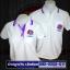 เสื้อโปโลอาเซียน สีขาวขลิบม่วง ทรงสปอร์ตทั้งชายหญิง thumbnail 1