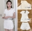 เสื้อผ้าแฟชั่นเกาหลี Lady Ribbon Thailand Lady Ribbon's Made Lady Taylor Minimal Chic White Top and Shorts Set thumbnail 4