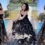 เสื้อผ้าแฟชั่นเกาหลี Lady Ribbon Thailand Seoul Secret Say's ...White Line Dress With Black Fancy Stripes thumbnail 6