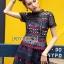 เสื้อผ้าแฟชั่นเกาหลี Lady Ribbon's Made Lady Poppy Vivid Blue and Burgundy Lace Dress thumbnail 7