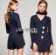 เสื้อผ้าแฟชั่นเกาหลี Lady Ribbon's Made Jenine Modern Masculine Chic Button Down Black Silk playsuit thumbnail 3