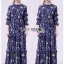 เสื้อผ้าแฟชั่นเกาหลี Lady Ribbon's Made Lady Danielle Flower Printed Navy Blue Chiffon Ruffle Maxi Dress thumbnail 6