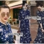 เสื้อผ้าแฟชั่นเกาหลี Lady Ribbon's Made Lady Danielle Flower Printed Navy Blue Chiffon Ruffle Maxi Dress thumbnail 1