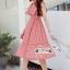 เสื้อผ้าแฟชั่นเกาหลี Lady Ribbon Thailand Seoul Secret Say'...Bias Cape Red&White Gingham Kilt Plaid Open Back thumbnail 2