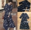 เสื้อผ้าแฟชั่นเกาหลี Lady Ribbon's Made Lady Danielle Flower Printed Navy Blue Chiffon Ruffle Maxi Dress thumbnail 7