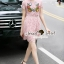Seoul Secret Say's... Salmon Pink Lace Chic Bloom Stick Dress thumbnail 6