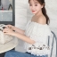 เสื้อผ้าแฟชั่นเกาหลี Lady Ribbon Thailand Seoul Secret Say'...White Open Shoulder Waist Lycra Lace T-Shirt thumbnail 1