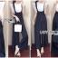 เสื้อผ้าแฟชั่นเกาหลี Lady Ribbon Thailand Serena Belt-Strap Overall Jumpsuit with Lace Knit T-Shirt Set thumbnail 2