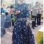 เสื้อผ้าแฟชั่นเกาหลี Lady Ribbon's Made Lady Danielle Flower Printed Navy Blue Chiffon Ruffle Maxi Dress thumbnail 2