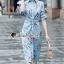 Seoul Secret Say's... Stripe Pattern Waist Ivory Floral Print Shirt Dress thumbnail 1