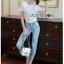 เสื้อผ้าแฟชั่นเกาหลี Lady Ribbon Thailand Lady Ribbon's Made Lady Camilla Easy Casual Flower Embroidered White T-Shirt and Denim Set thumbnail 1