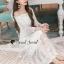 Seoul Secret Say's... Princess Curly Shoulder Off White Dress thumbnail 5