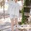 เสื้อผ้าแฟชั่นเกาหลี Lady Ribbon Thailand Seoul Secret Say'...Lace Embroidered Cotton Blouse White Circle Korea Style thumbnail 2