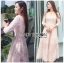 เสื้อผ้าแฟชั่นเกาหลี Lady Ribbon's Made Lady Matilda Flower Embroidered Champagne Lace Dress thumbnail 1