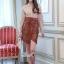 เสื้อผ้าแฟชั่นเกาหลี Lady Ribbon Thailand Korea Design By Lavida Creamy shirt collar lace skirt set code8193 thumbnail 1