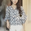 Seoul Secret Say's... Navy Daisy Perforate Blouse thumbnail 9