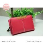 กระเป๋าสตางค์ Oudishengma สีชมพู ใบสั้น