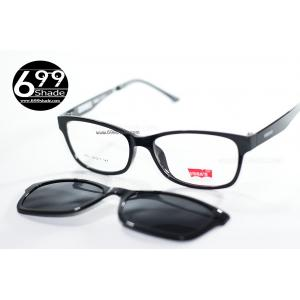 [Vegas8001 ดำเงา] กรอบแว่นคลิปออนแม่เเหล็ก เบา ยืดหยุ่น บิดงอได้